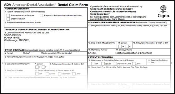 590154f Dental Claim Form Cigna